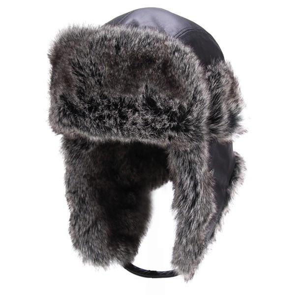 8ddfda555238d8 ELEHELM HAT STORE: Flight Cap KASZKIET flight Cap men's autumn/winter  casket Cap leather Aviator Hat winter leather and Sheepskin ear with warm  Black (gift ...