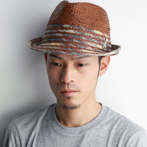 ストローハット メンズ 中折れハット ブレードハット 春夏 Carlos Santana ラフィア カルロスサンタナ ラフィアとブレードのミックスブレードハット ブラウン [straw hat](紳士帽子 中折れ帽子 ストロー 40代 50代 60代 70代 ファッション メンズハット ぼうし)