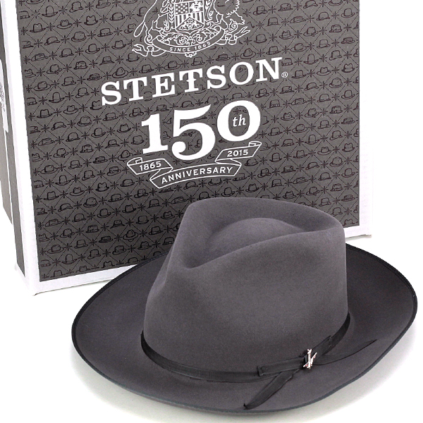 Stetson hat far felt Hat Stetson stetson STRATOLINER Hat 150th anniversary plane Hat luxury hats gentleman Hat formal stetson store made in the USA Grand Ribon only Hat BOX with caribou gray (senior day)