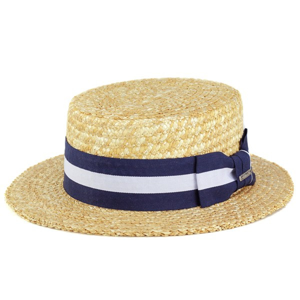 67b390de006 Boater mens Stetson straw hat straw hats women s stetson straw hats Hat  border Ribbon straw hat Ribbon Navy x White large and boater hat  (kannkannbou spring ...