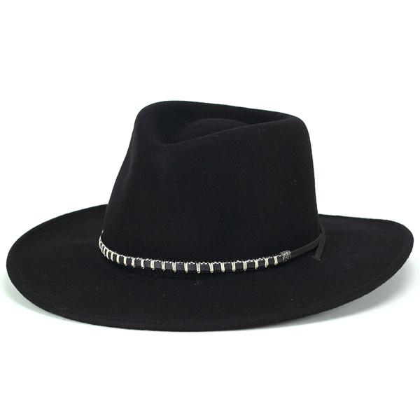 ウェスタンハット メンズ ステットソン カウボーイ 帽子 大きいサイズ つば広ハット 秋冬 stetson アメリカ製 ワイドブリム ハット メンズ レザーストラップ フェルト 折りたたみ可 USA BLACK FOOT 黒 ブラック[ wide-brim hat ]フェルトハット フェルト ハット