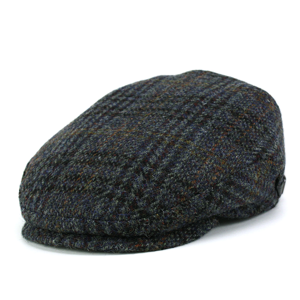 KASZKIET Hunting Cap Hat Mens Casket Harris Tweed Flat Large Size Autumn Winter Wool Import Check Pattern Rich Blue The 50s Presents