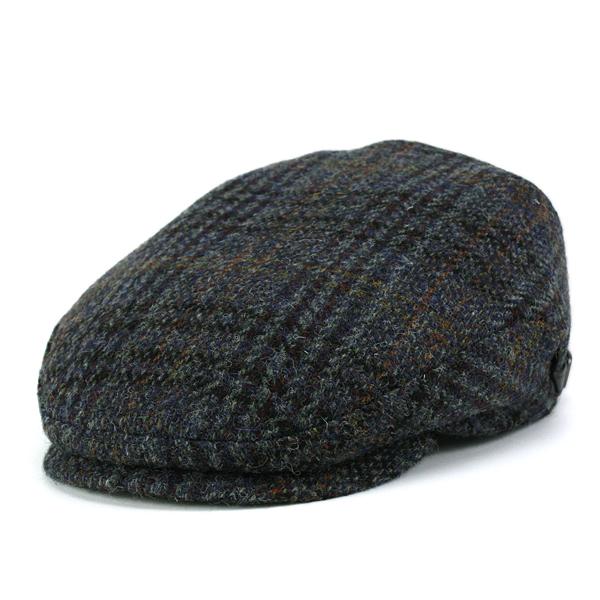 KASZKIET ハンチング 帽子 メンズ カシュケット ハリスツイード 大きいサイズ 秋冬 ウール チェック柄 ブルー系 [ivy cap](40代 50代 60代 70代 ファッション ブランド帽子 ハンチング帽子 紳士帽子 ツイード ゴルフ フリース ハリスツィード 大きめ ぼうし 男性)