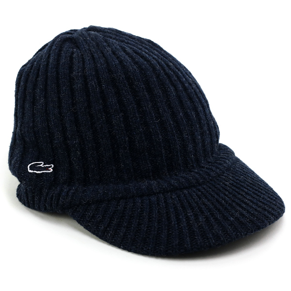 Lacoste knit hat men's nit case gasket lacoste fall/winter flanged knit Cap ladies Hat knit Cap outdoor winter knit Wani mark brand Lacoste made in Japan / Navy Navy knit cap, newsboy cap