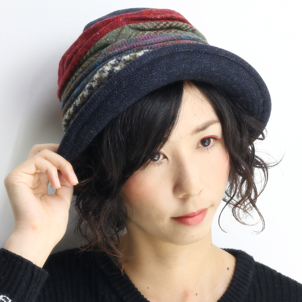 66b52169b76 Crochet hats women s wool hat autumn winter herringbone GREVI hats colorful  patchwork made in Italy ...