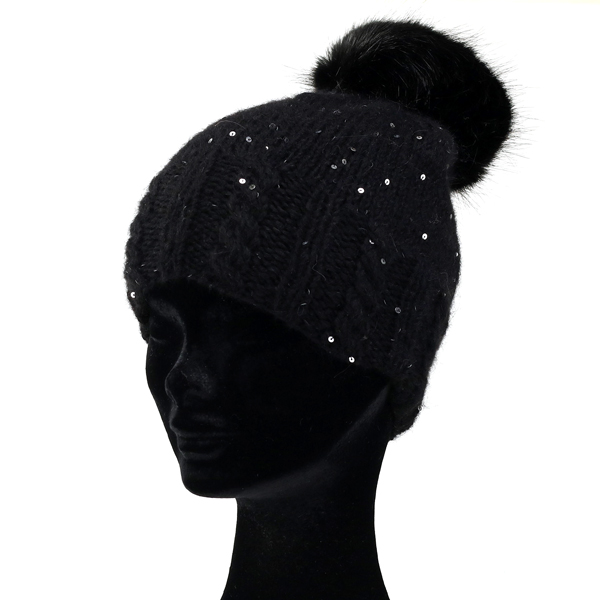 775f7c8a6e0 Knit hat fur Pom Pom with gravey Hat sequin knit GREVI NET watch with  positive right hat ladies fall winter mode Kamon twinkle made in Italy fur  accessory ...