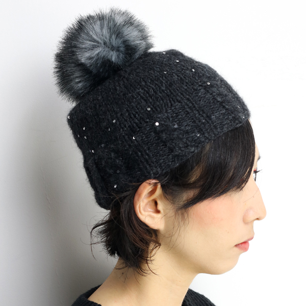 ... GREVI ladies fur knit hat with pom poms glitter sequin grevi Hat knit  fall winter ... b6b27a88985