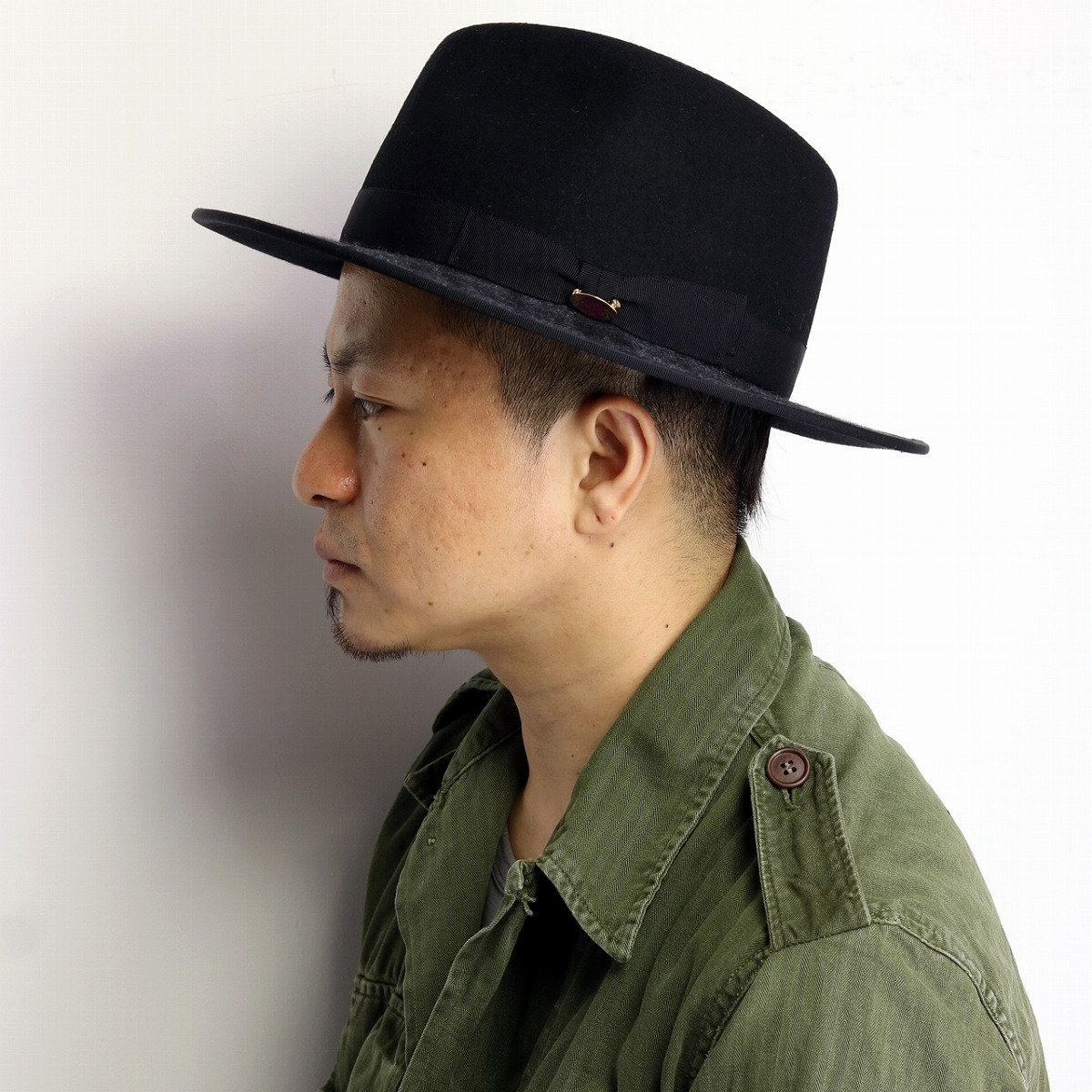 927677e2bd8 ... Stylish woolen Hat mens check pattern flat brim brim wide Hat men's  autumn/winter made ...