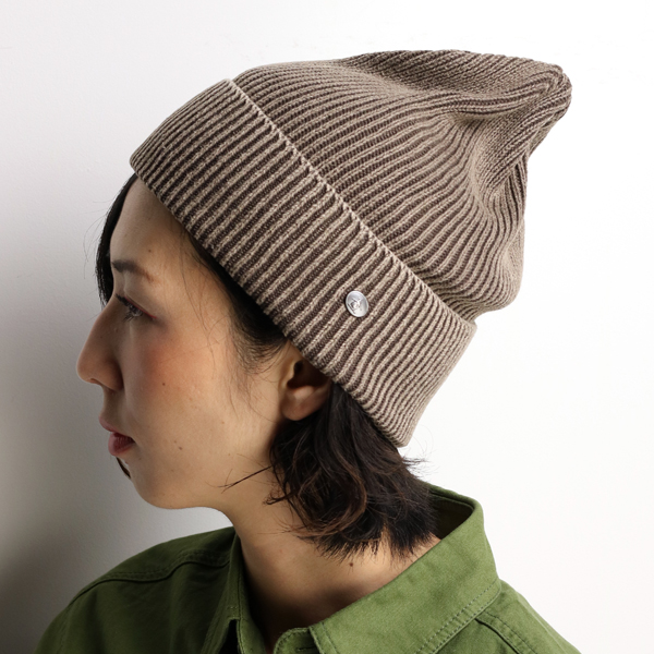 21ef9ecc09e ... Stonewashed processing Munising Hat women s knit casual Penguin brand  sports outfit outdoors Beanie simple plain made in Japan   tea Brown beanie  cap