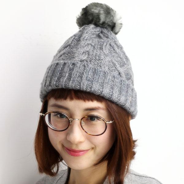 Knit Cap Munsingwear ladies fall winter Bon Don knit hat fur Pom Pom knit  hat ... 598722d3cc5