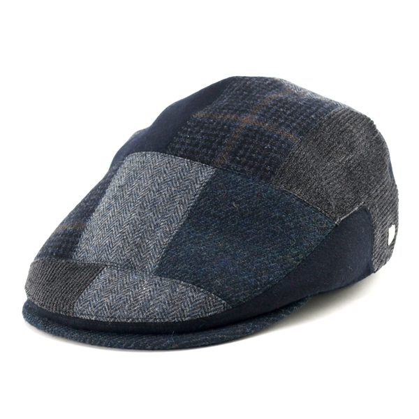 DAKS patchwork Cap mens fall winter Tweed corduroy check ducks hunting Cap  gentleman United Kingdom brand Manish Hat ivy cap hat size adjustable Navy  Blue ... 45638d21be9
