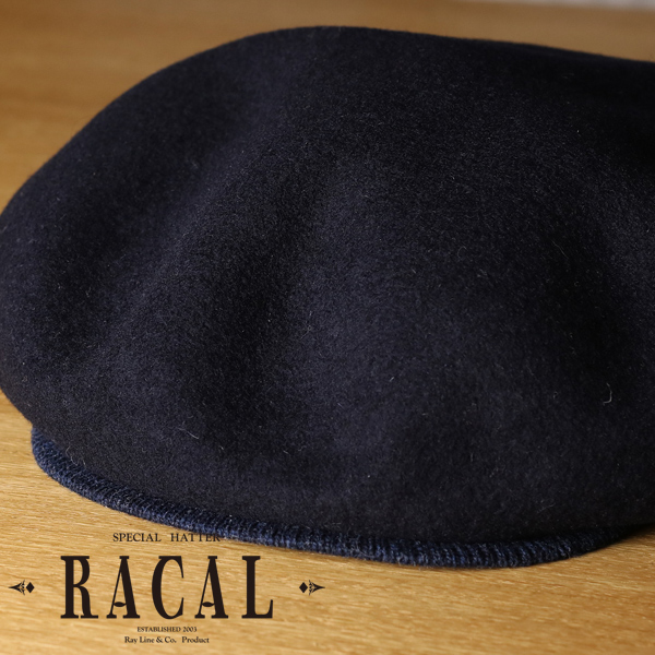 Product made in ラカルベレー size grain Japan wool felt plain fabric Shin pull cold protection wool beret gentleman hat brand with the SALE 15% off beret men casquette 2way racal hat saliva in the fall and winter plumply silhouette 58cm 59cm / dark blue navy [