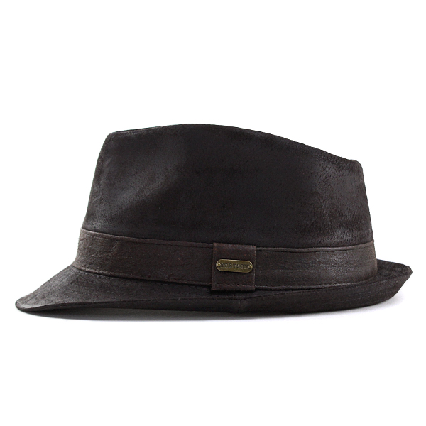 Large Stetson hats leather hats mens size XL 60 cm 58 cm L autumn/winter caps hats shallow headgear weathered leather STETSON Caps hats men's leather goods leather goods luxury brand in America Hat fashionable tea Brown [fedora] Christmas gifts 10P03Dec16
