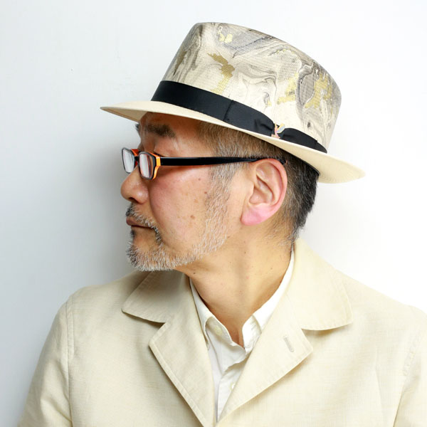 カルロス サンタナ ストロー ハット マーブル模様 ハット 高級 ペーパーハット メンズ 春夏 インポート ブランド 麦わら帽子 中折れ 紳士 帽子 柄 おしゃれ Lサイズ XLサイズ メキシコ製 CARLOS SANTANA hat SHANTUG 白 ホワイト マルチカラー [ straw hat ]