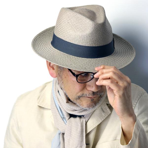 ハット パナマ メンズ ツバ広 中折れ 帽子 大きいサイズ 春夏 紳士 セラノハット ワイドブリム エクアドル パナマハット メンズ M L XL ティアドロップ ストローハット リボン 無地 夏 コーデ / 灰色 グレー [ panama hat ] ギフト プレゼント
