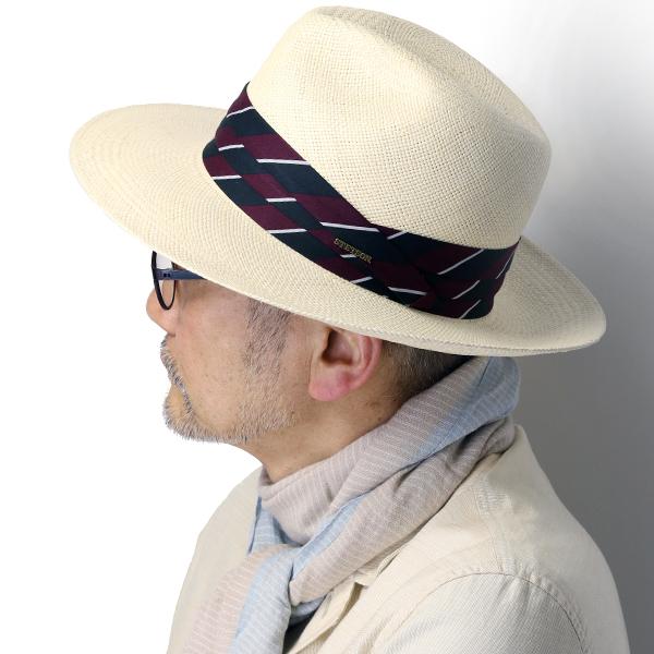 ステットソン パナマ帽 エクアドル 本パナマ 中折れ帽 メンズ ROYAL STETSON パナマハット サイズ調整機能付き 57cm 59cm 中折れハット 春夏 帽子 高級 ストローハット リボン メンズ ナチュラル [ panama hat ] stetson 帽子通販 男性 誕生日 プレゼント