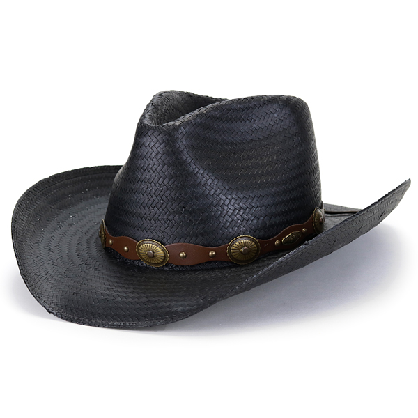 Saliva native   black black  cowboy hat  containing Y ditch rim concho  leather belt ... f6ddbf0a744