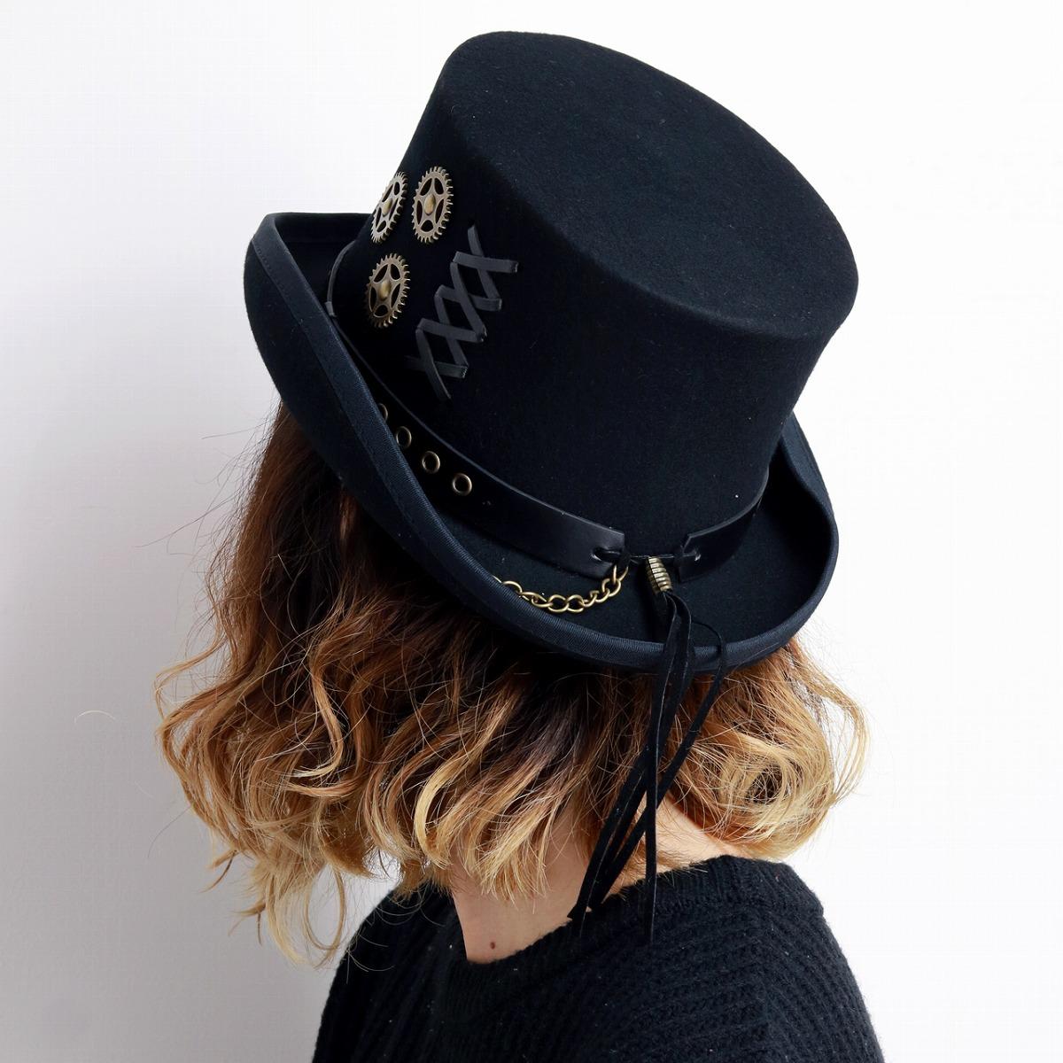 Kenny K Wool Felt Steampunk Top Hat Black