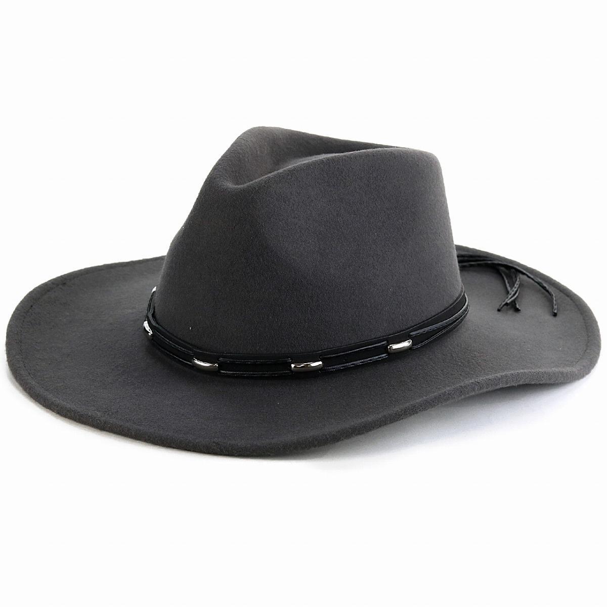 KennyK カウボーイハット メンズ ウール100% フェルト 秋冬 帽子 メンズ ウエスタンハット 中折れ ワイドブリム レディース ツバ広ハット シック LTC チャコール / グレー [ cowboy hat ] ギフト プレゼント