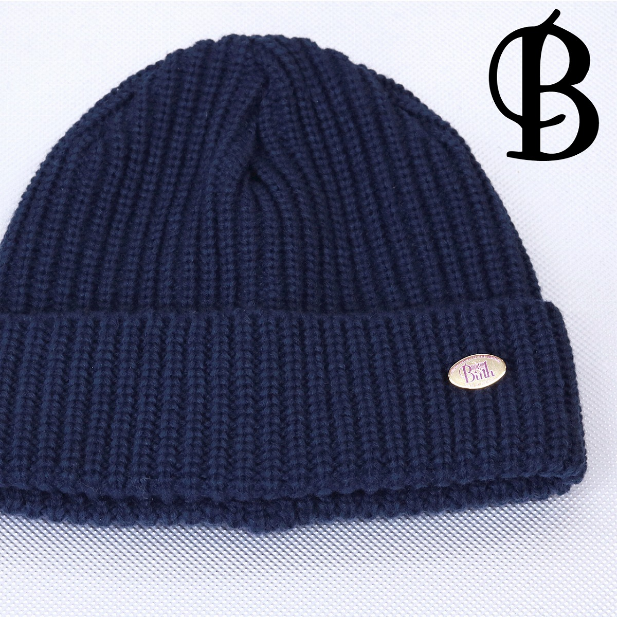 Casual   dark blue navy  beanie cap  with the maison birth ニットワッチレディース ... c02bcd65185