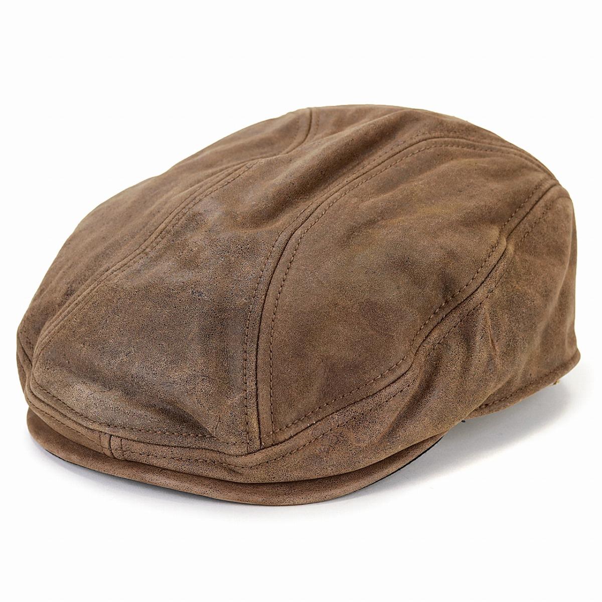 本革 ハンチング レザー HENSCHEL メンズ 牛革 ハンチング帽 ヴィンテージ ヘンシェル 帽子 大きいサイズ 秋冬 レディース アイビーキャップ 革小物 茶 ブラウン [ ivy cap ] 父の日 プレゼント 帽子 男性 40代 50代 60代 レザーハンチング