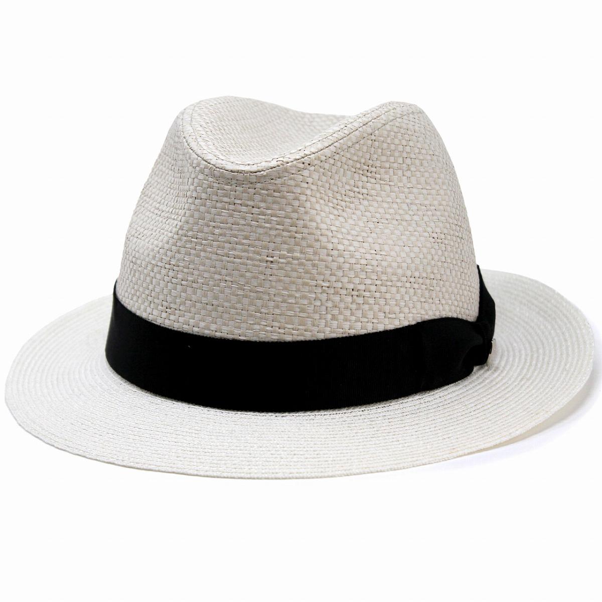 daks 帽子 メンズ ダックス ストローハット 無地 中折れ ハット 日本製 DAKS 中折れ帽 紳士 シンプル ペーパーブレード フラット ペーパーハット BL型 麦わら帽子 リボン 無地 サイズ調節 60cm / オフホワイト [ straw hat ] 父の日 ギフト プレゼント
