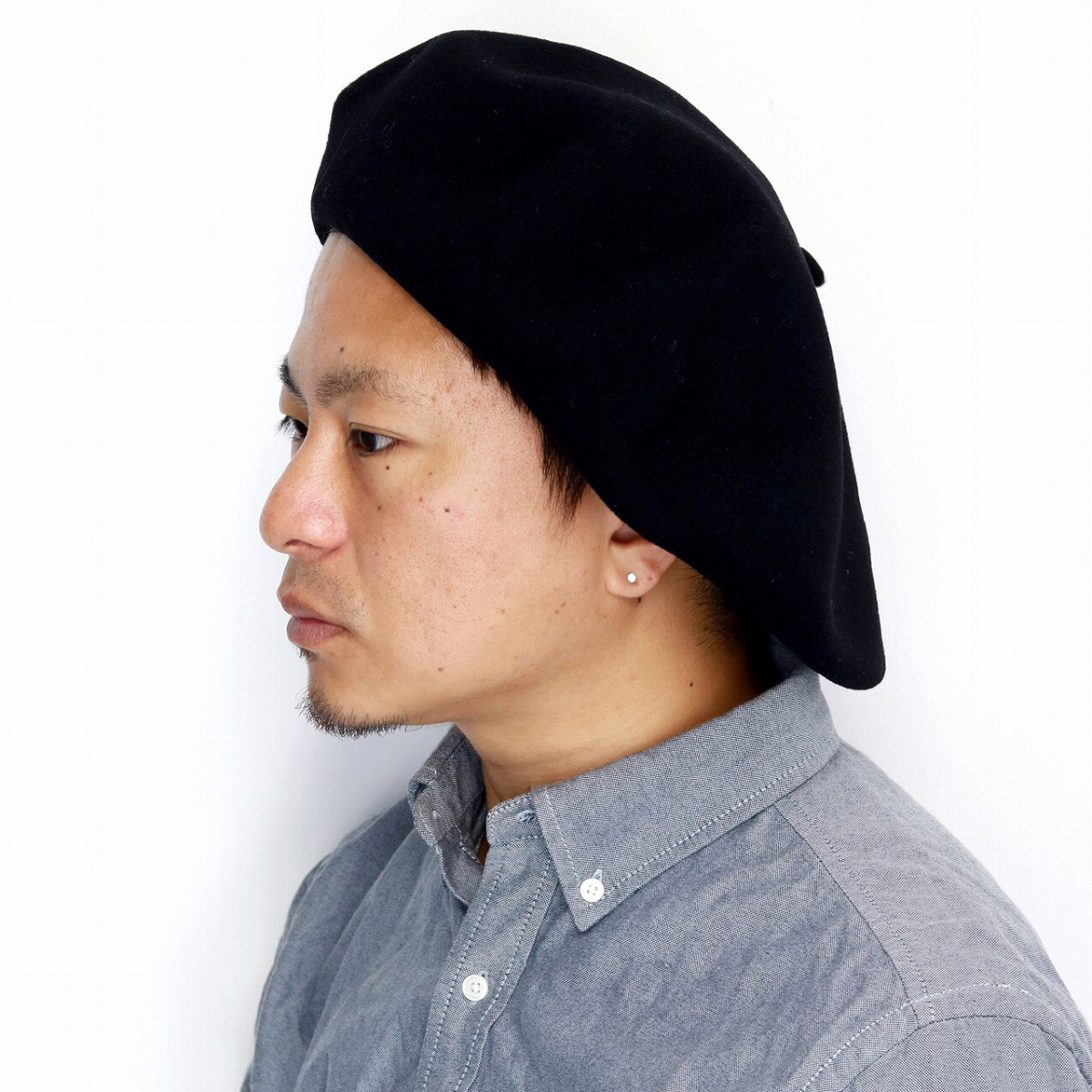 ELEHELM HAT STORE  Product made in felt over size beret hat LAULHERE 58cm  60cm France beret plain fabric Shin pull Paris Schick accessory   black  black ... 6ac34239cae