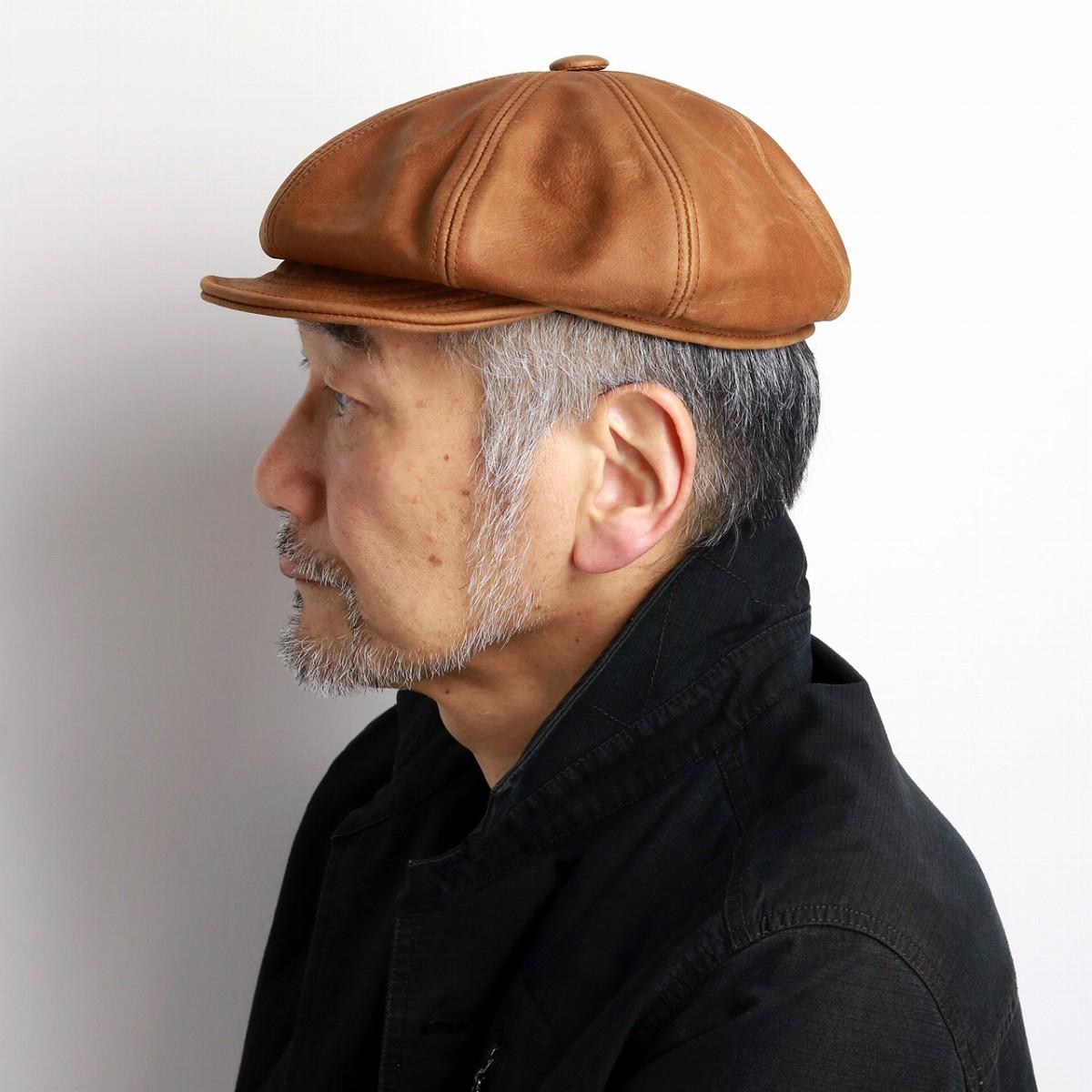 NEW YORK HAT ( ニューヨークハット ) ヴィンテージレザー キャスケット Vintage Leather Spitfire レザー メンズ 大きいサイズ レザーキャップ 9223 ラスト RUST [ ivy cap ]