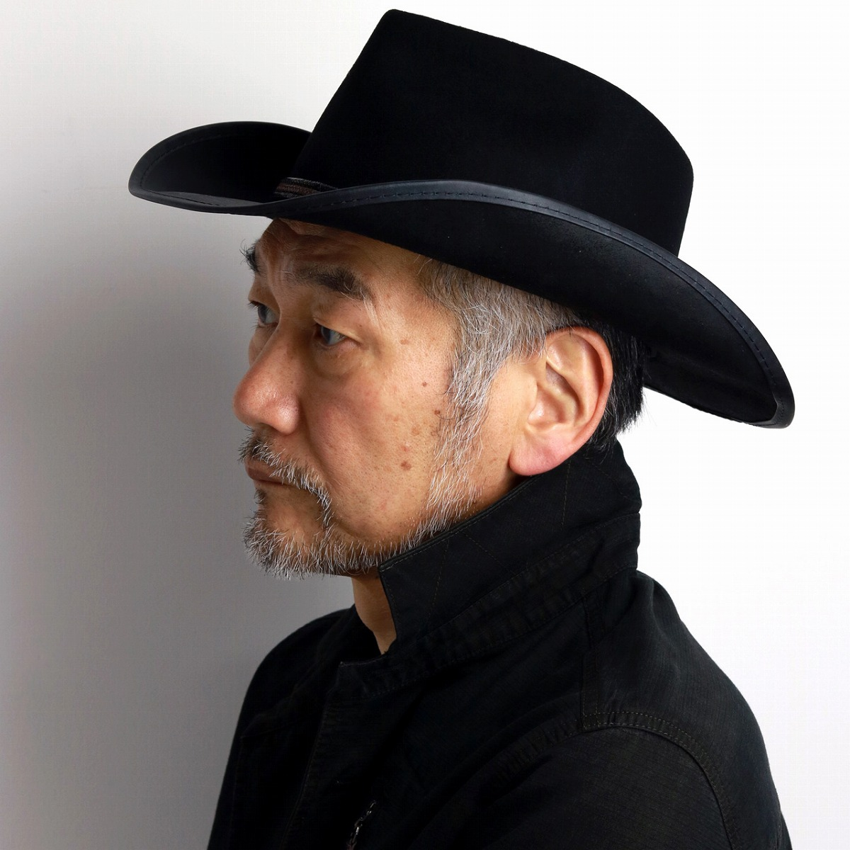 Leather hat lady s ten gallon individual big size ぼうし black black  cowboy  hat  man ... 4720a498c59