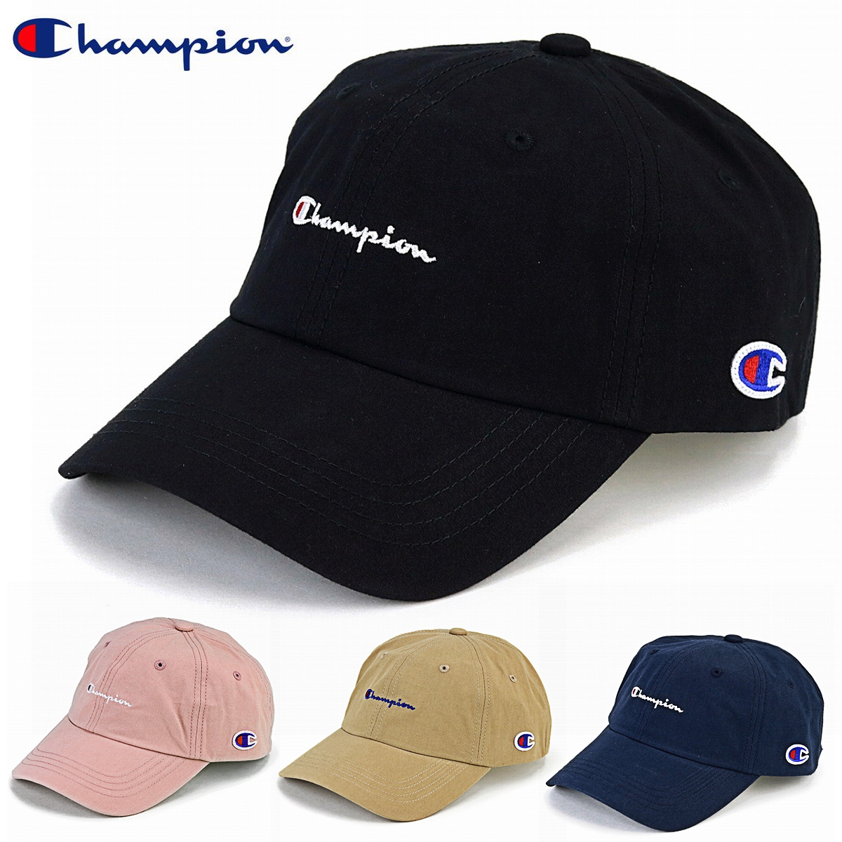 44911ab7e52 Champion cap black men champion low cap Lady s logo cap Shin pull plain  casual coordinates hat sports cap unisex adjustable size   black  baseball  cap  ...
