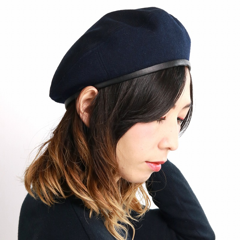 Beret adjustable size string size adjustment possible men brand stylish /  dark blue navy [beret] Christmas gift present made in ラカルベレー hat men piping