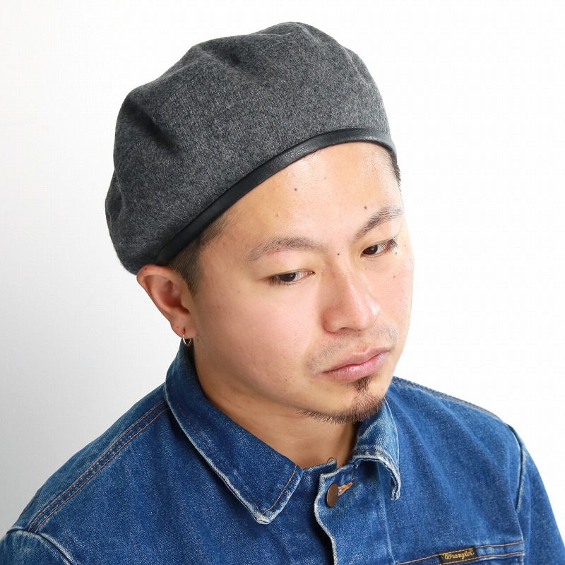 611c3af0 ... men brand winter accessory coordinates / gray [beret] Christmas gift  present made in racal beret メンズラカルhat piping beret plain fabric fake leather  ...