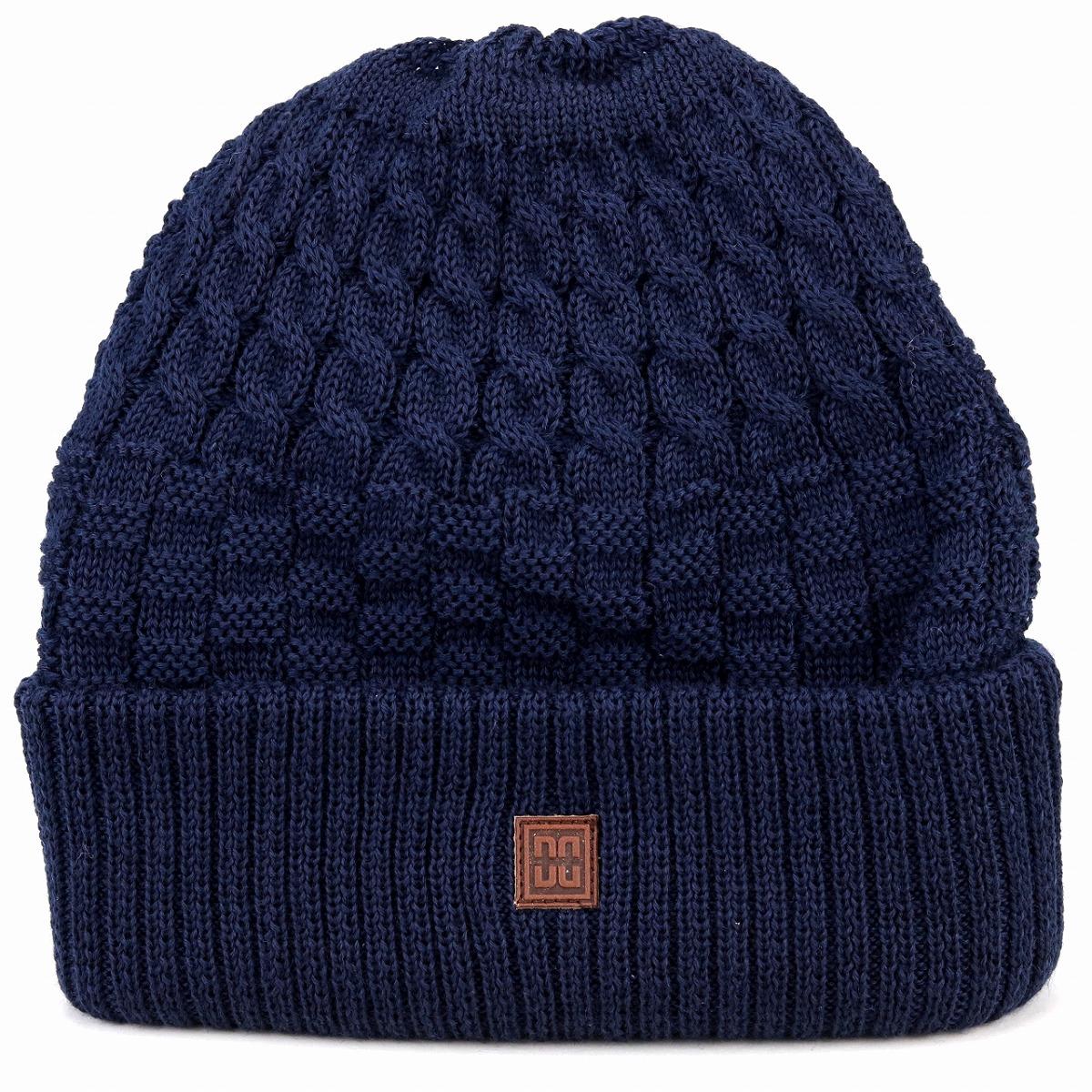 39d3db2eeb9 Simple plain cold protection dark blue navy  beanie cap  man Christmas present  hat with ニットワッチタグ made in DAKS lapel ニットワッチ wool blend CADET48 ...