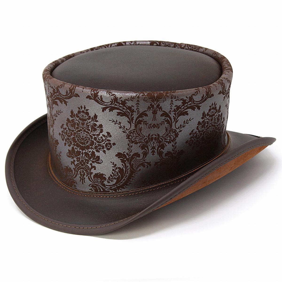 トップハット レザー 柄 メンズ ハット Head'n Home Steampamk 帽子 シルクハット レディース スチームパンク 衣装 本革 アメリカ製 レザーハット お洒落 秋 冬 高級帽子 上品 ブラウン シルバー [ top hat ] 男性 帽子 プレゼント クリスマス ギフト