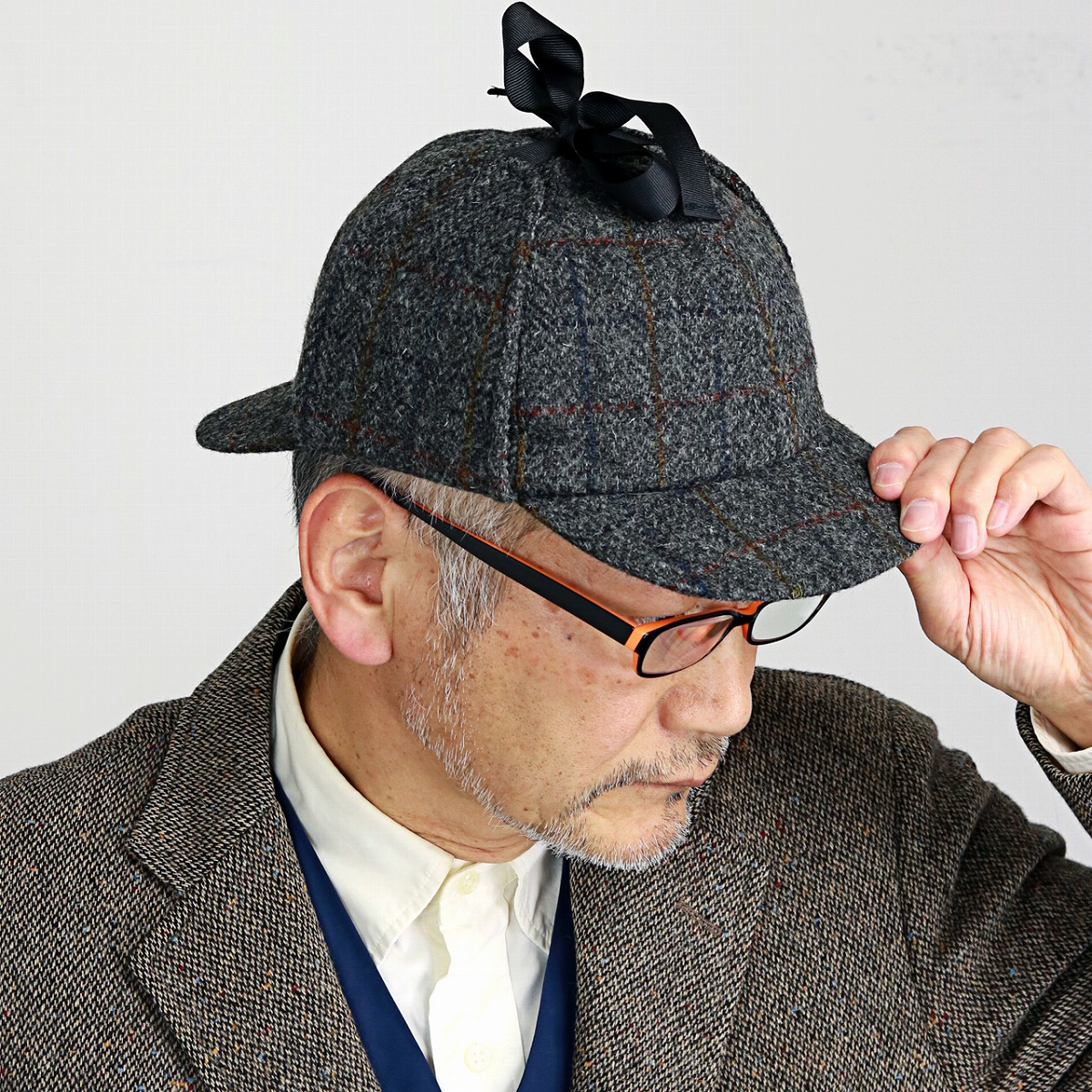 46fd26e4b8e ELEHELM HAT STORE  1303 model X HB310-A4 ディアストーカーカシュケット fashion classical    gray system  deerstalker hat  man Christmas gift present made in ...