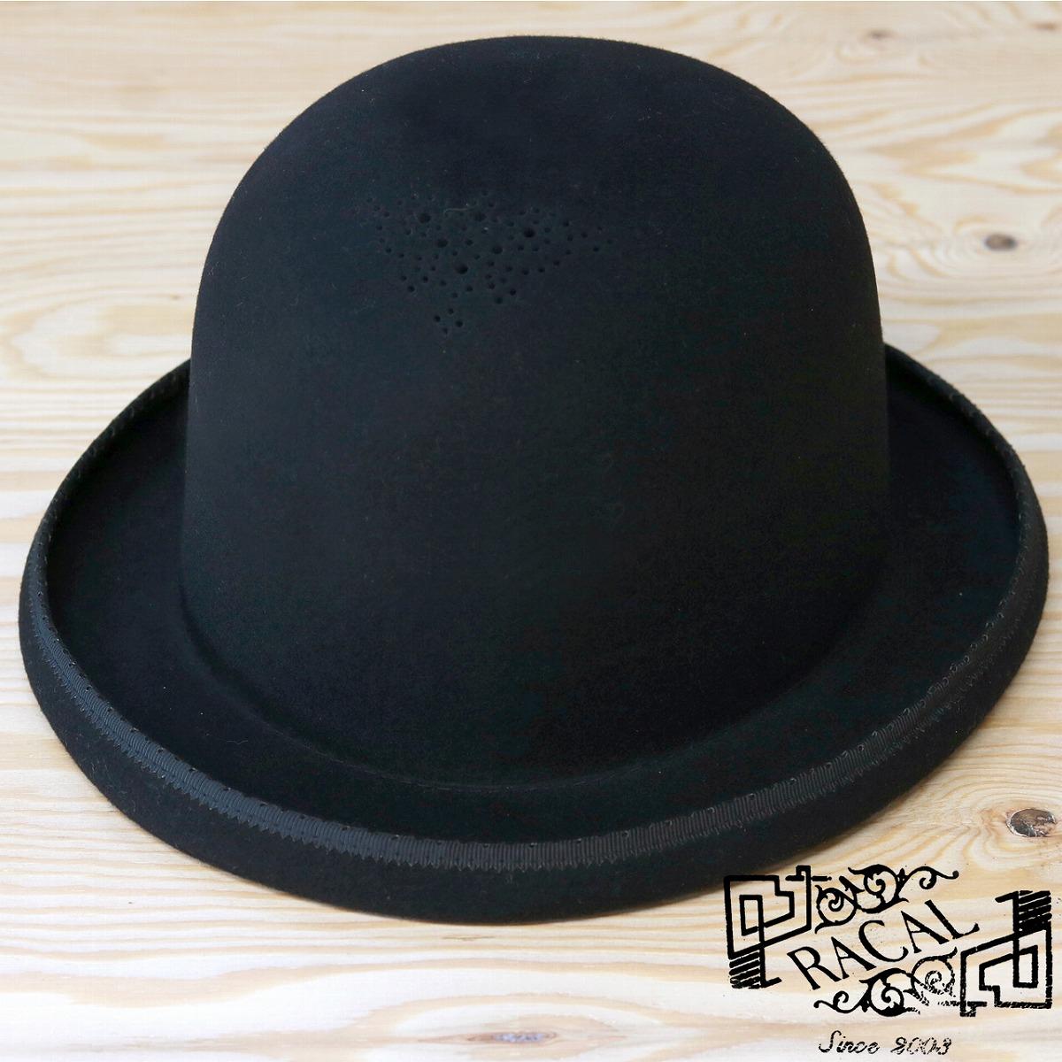 Felt hat men black ラカルダービーハット hat wool Lady s racal hat ラカルボーラー ... bbd49b5bed5