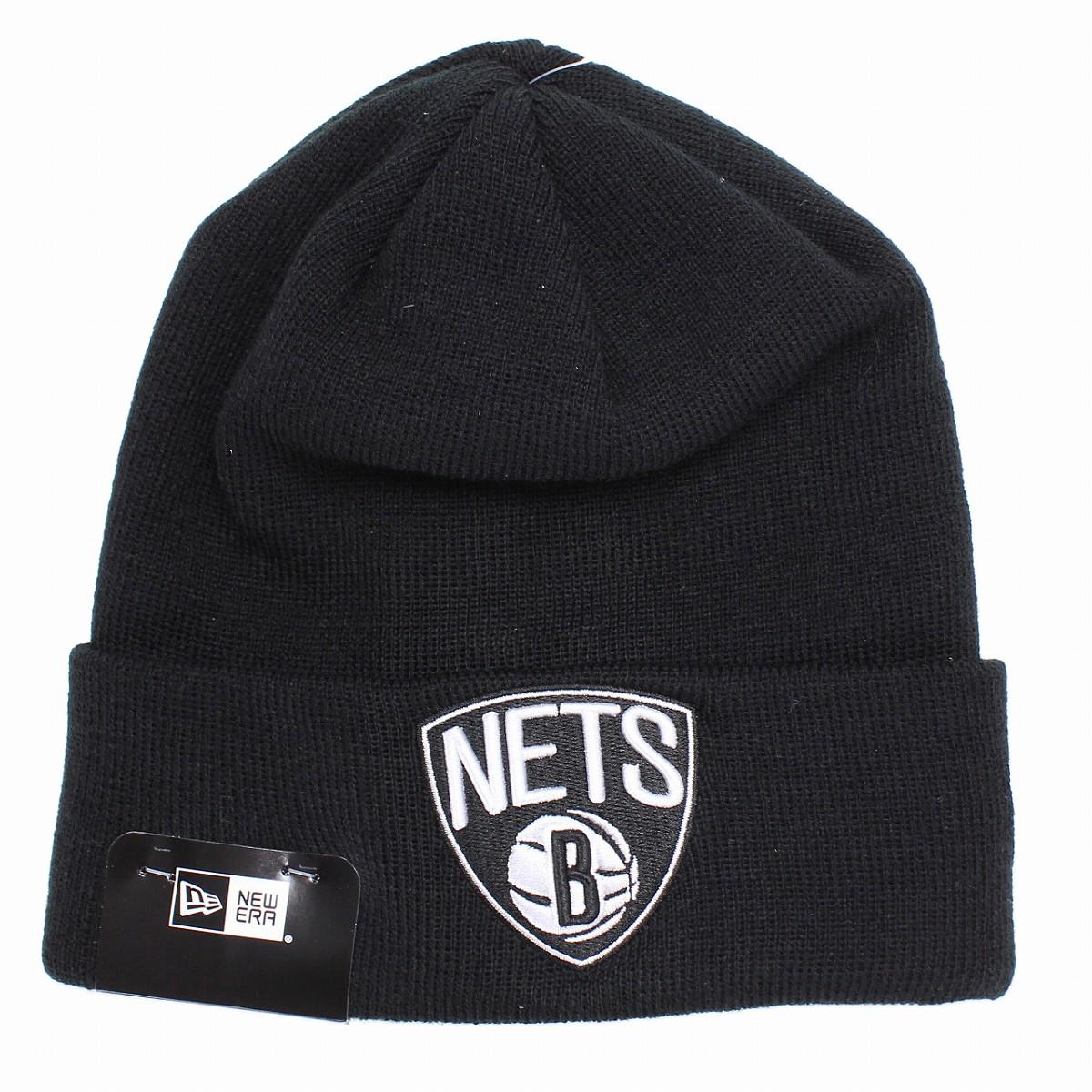 01d5ea960aa Brooklyn Nets knit hat ニューエラニットワッチチームロゴ NBA NEWERA Basic Cuff Knit black  beanie  cap  present man new gills hat mail order