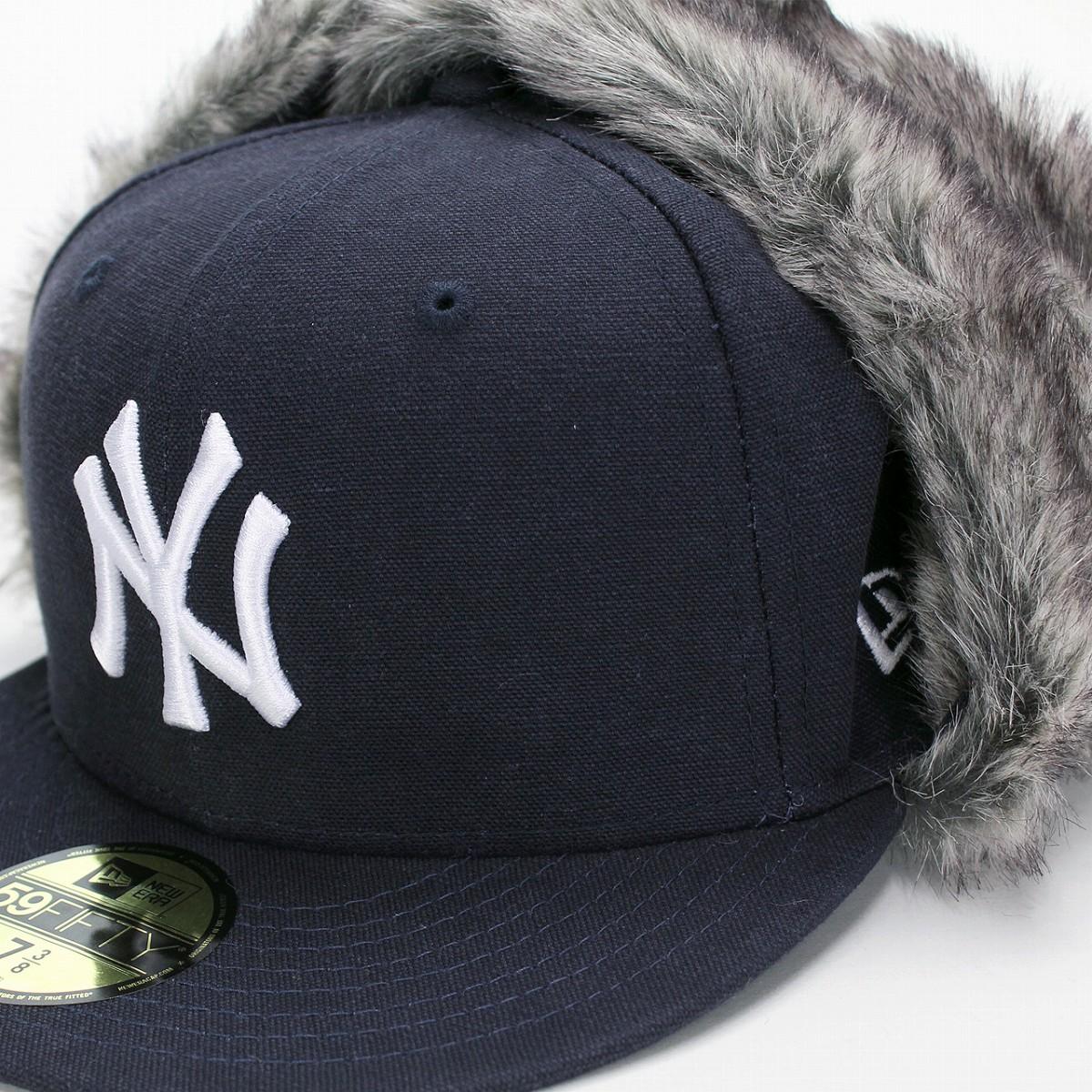 830e76935 NEWERA earflap New York Yankees 59FIFTY hat men fur winter men coordinates  street fashion baseball cap / dark blue navy [flying cap] present man new  ...
