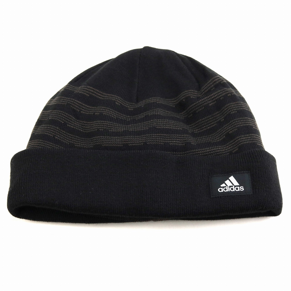 adidas knit hat men horizontal stripe knit lapel ニットワッチアディダス hat knit cold  protection brand ... 31a3c1a4323