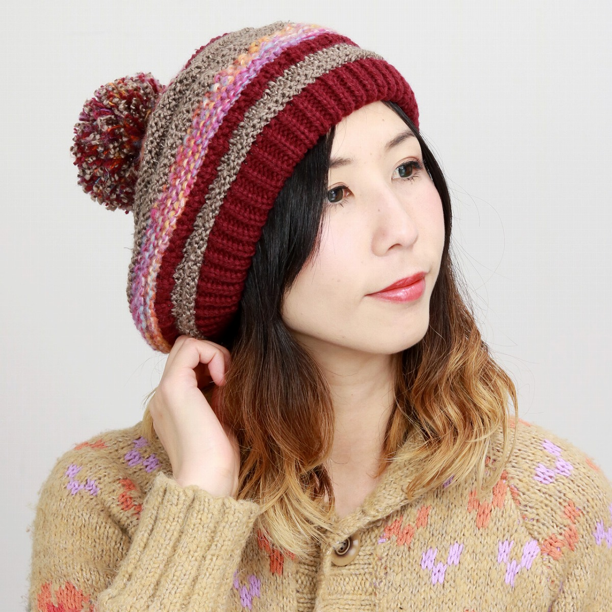 a748c8c55 It is a present Lady's hat gift grandmother present lady's knit hat  different fabrics mixture knit wine [pompom beanie] which beret 3 material  knit ...