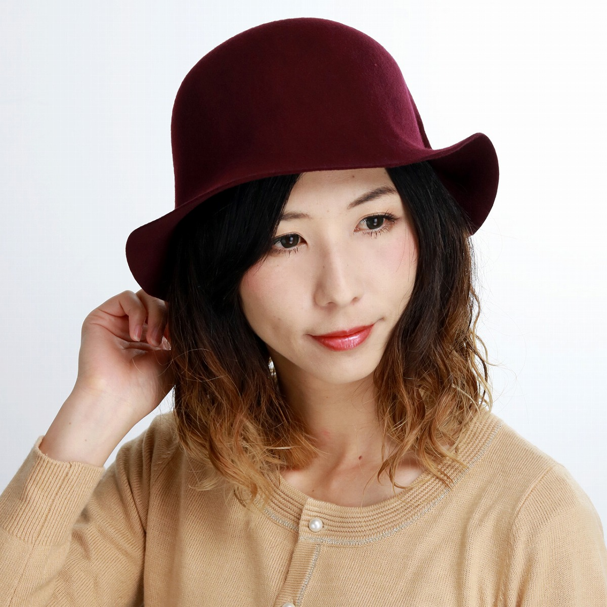 plain fabric shin pull woman rumi woo seth hat elegant of superior grade felt hat tulip 57cm crimson hat woman christmas present gift made