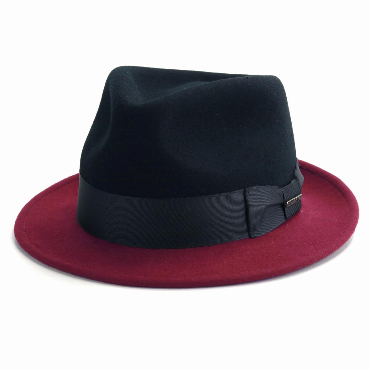 中折れハット ハット 帽子 メンズ 2トーンカラー STETSON インポート ハット 秋冬 フェルトハット メンズ ウール ステットソン ブラック / バーガンディ [ fedora ] stetson 帽子通販 男性 帽子 プレゼント