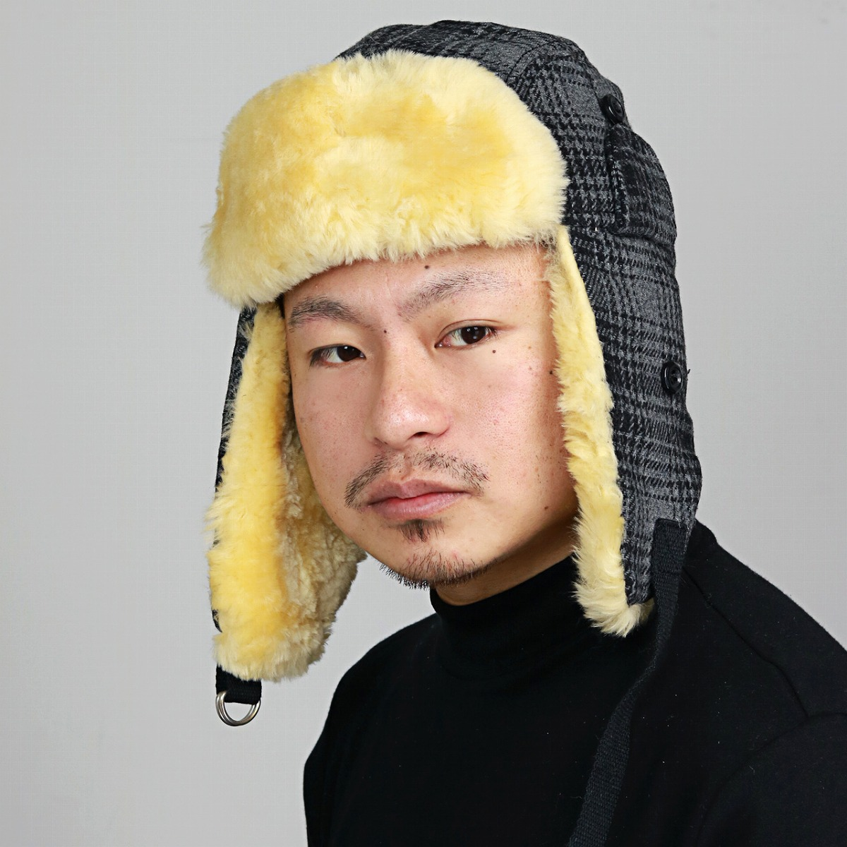 c730ae16e64 ELEHELM HAT STORE  Unisex   check gray  flying cap  that fur with the  coordinates trend fashion hat Lady s ear expectation is warm in fur hat  Ulrich flight ...