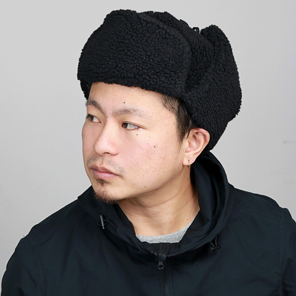 8b28b58871d ELEHELM HAT STORE  Black black  flying cap  present man woman hat mail  order ELEHELM which an ear with the lining exposes a hat cold protection  pilot cap ...