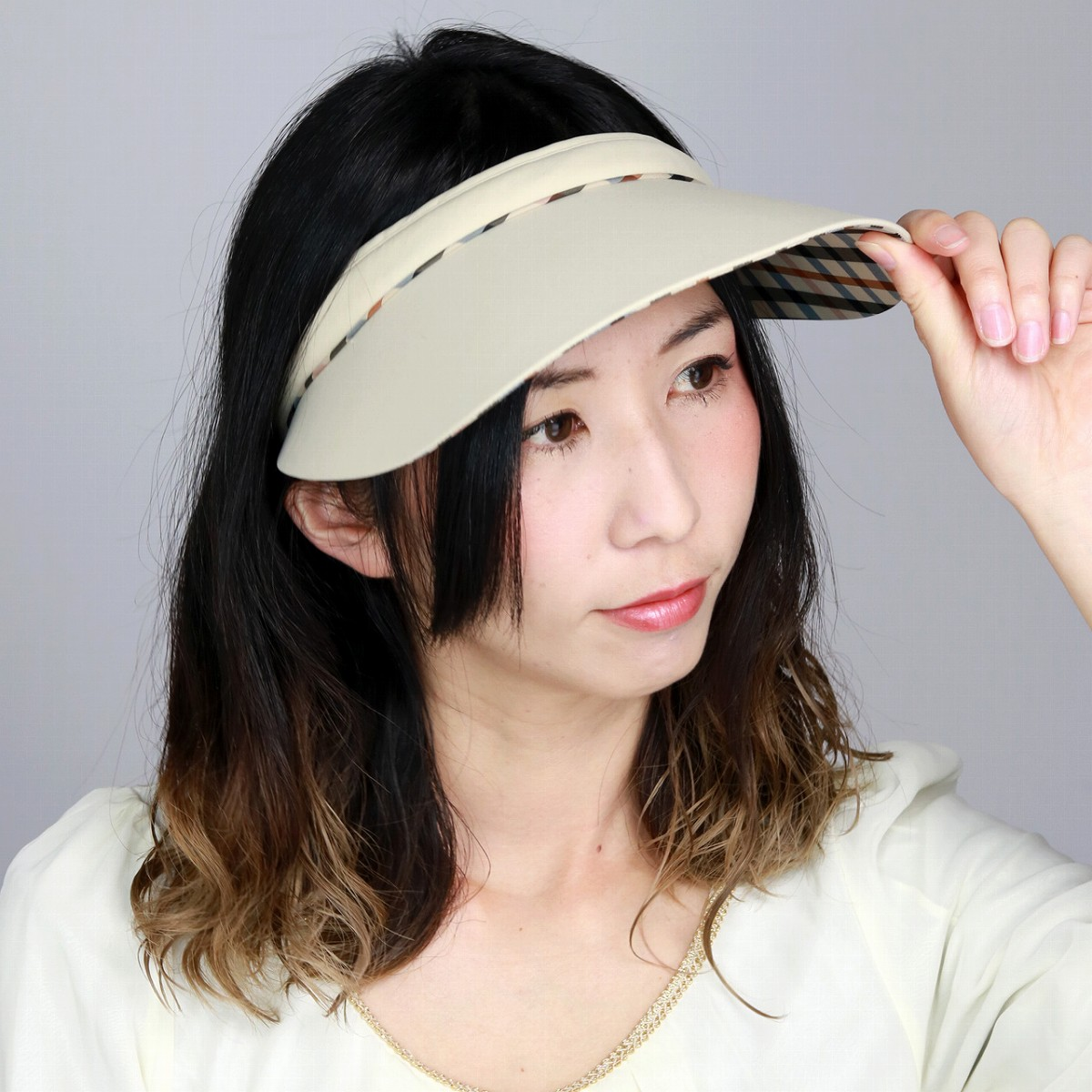 d6788d2e64a Ducks clip sun visor UV cut repellent water processing check visor Cap  ladies beige (Cap and hat shop fashion fashionable gift)