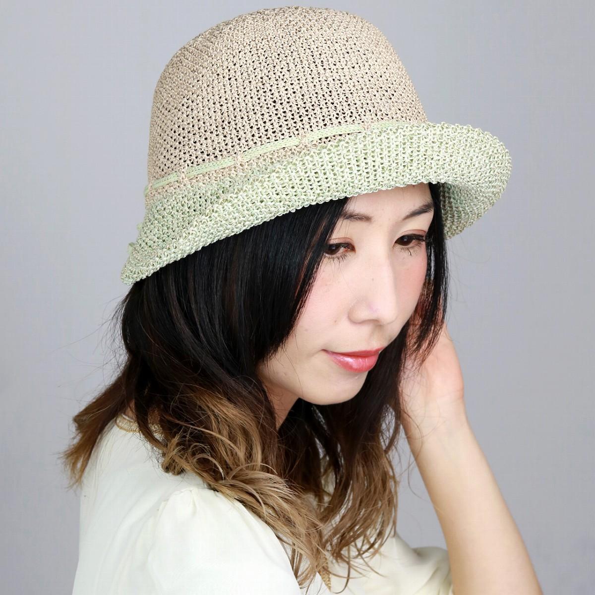 ハット レディース DAKS 帽子 春夏 日よけ Mサイズ 57cm サイズ調整 ダックス オブザーハット 綿ロード おしゃれ 涼しい ミセスハット リボン 通気性 ベージュ×ライトグリーン ナチュラル [ hat ] 母の日 ギフト 帽子 プレゼント UVカット帽子