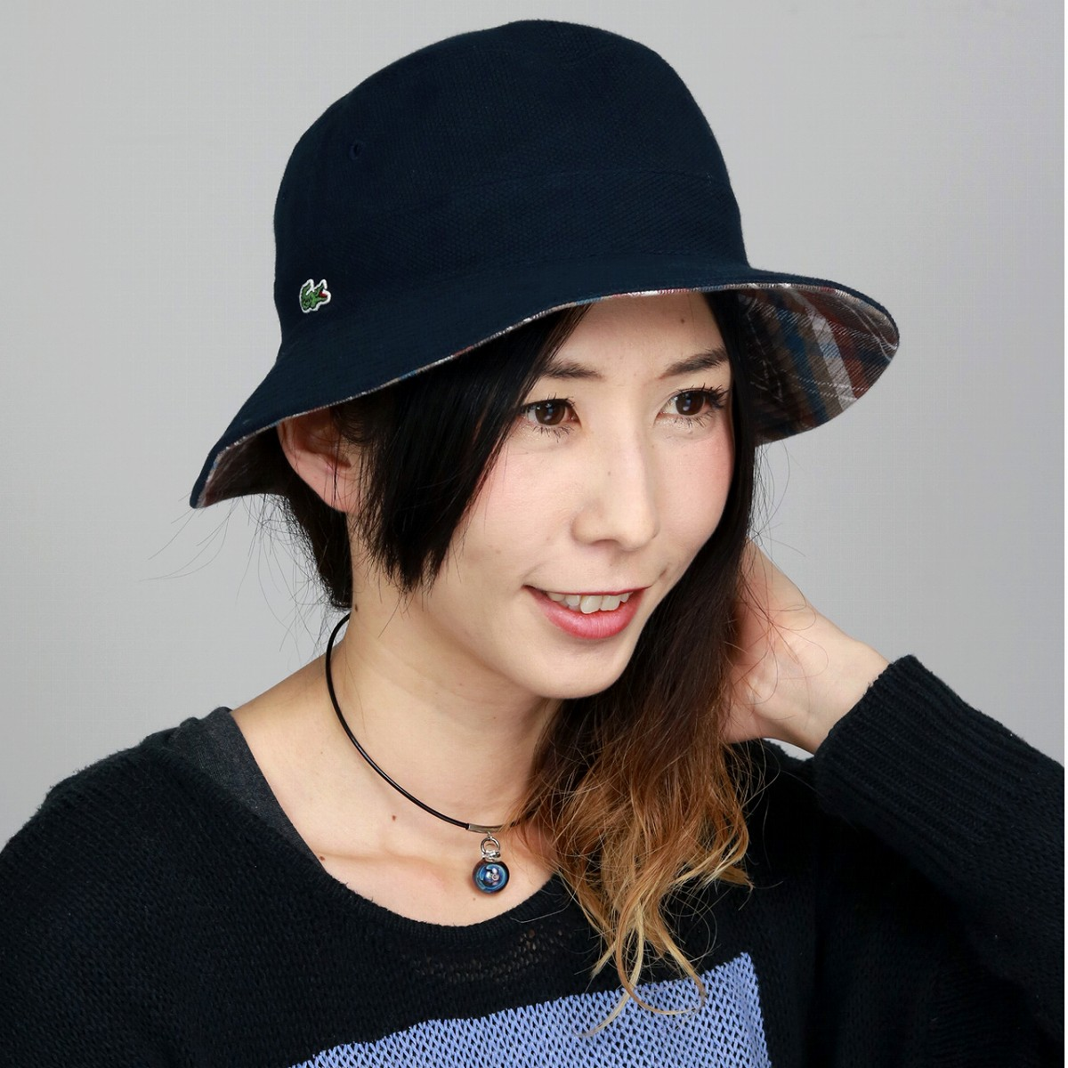 9faccc12448 ELEHELM HAT STORE  The   dark blue navy  bucket hat  gift present which  reverses LACOSTE awning gentleman hat brand crocodile hat Lady s outdoor  fashion in ...