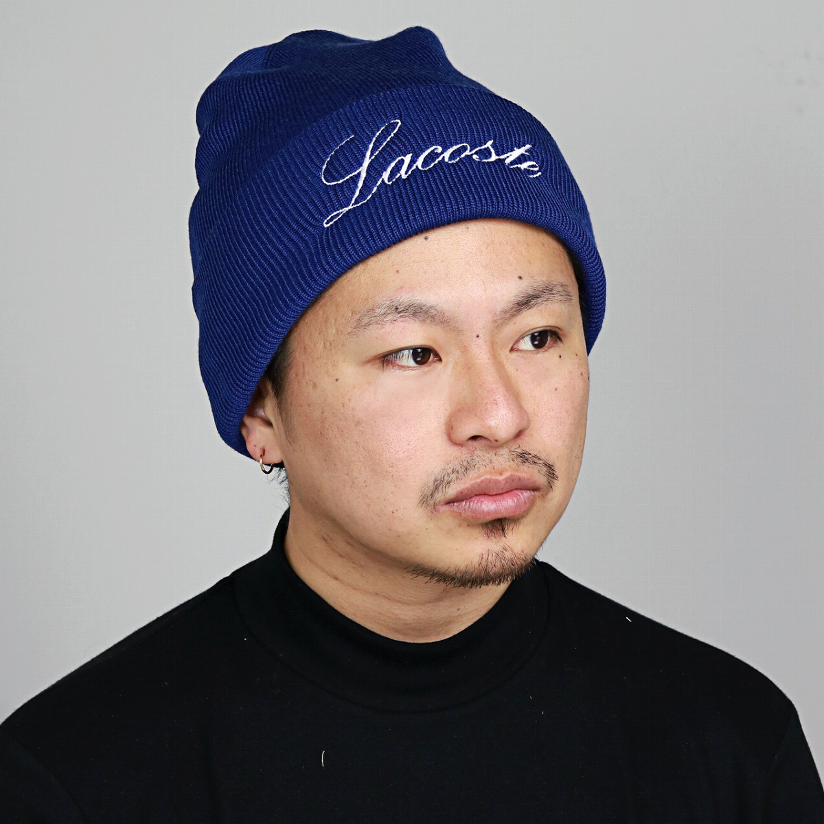 b5fc1d7665c LACOSTE knit caps Lacoste cursive logo wool NetWatch autumn-winter blue