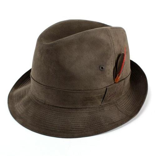 帽子 ハット メンズ スウェード 中折れ帽子 ヌバック ボルサリーノ ブランド Borsalino 合成皮革 エルモザ素材 ダークブラウン こげ茶 (中折れハット プレゼント 通販 カメラマンハット メンズ 中折れハット ボルサリーノ 50代 ボルサリーノ)