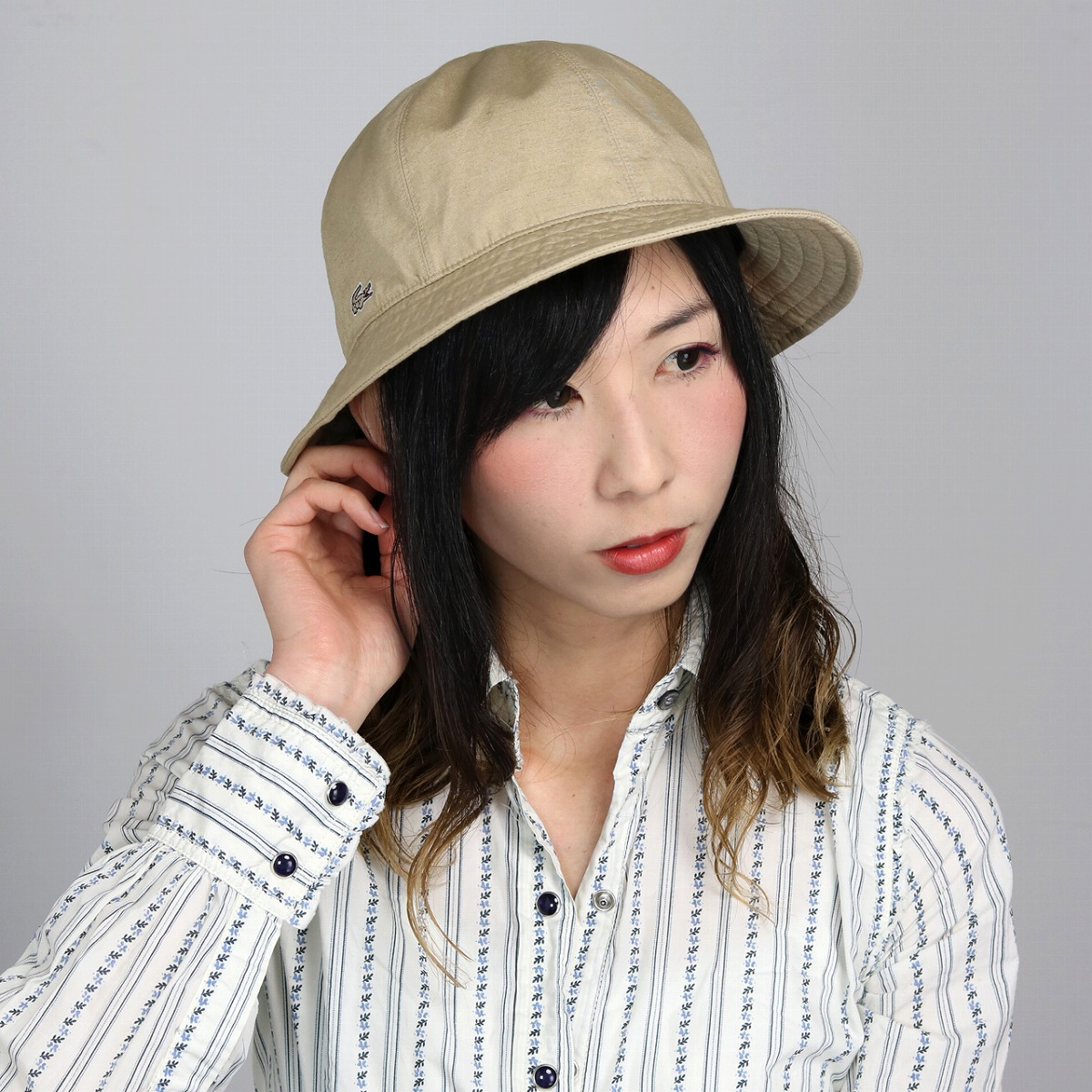 メトロハット lacoste 春 夏 メンズ 帽子 綿ヘンプ 涼しい 無地 日本製 クルーハット レディース ハット ラコステ シンプル サイズ調節可能 手洗い可能 軽い アウトドア ベージュ [ bucket hat ] 父の日 ギフト プレゼント UVカット帽子
